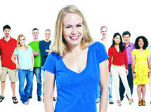 Het diverse Concept van de de Vriendschapssamenhorigheid van het Mensengeluk Stock Afbeelding