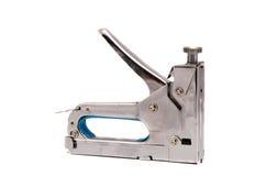 Het document dat van de speciaal hulpmiddelnietmachine houten voorwerpen bevestigt stock afbeeldingen