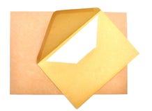 Het document en de envelop van de brief stock afbeeldingen