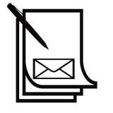 Het document en de envelop van de pen Stock Fotografie