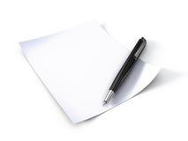Het document en de pen van de nota Stock Afbeeldingen