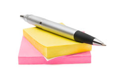 Het document en de pen van de nota Stock Afbeelding