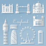 Het document sneed belangrijke elementen van wereldberoemd Londen, Engeland, de steden van wereldklasse - vector vector illustratie