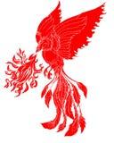 Het document sneed de Rode stammentatoegering van de de brandvogel van Phoenix vector illustratie
