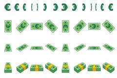 Het document van het animatiegeld Euro stap voor stap Beeldverhaalpakje van contant geld in verschillende die posities op afzonde royalty-vrije illustratie
