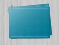 Het document van de blauwdruk op grijze achtergrond Stock Foto's