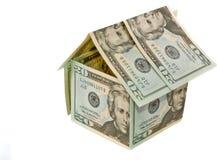 Het document van de dollar huis - onroerende goederenconcept Stock Afbeeldingen