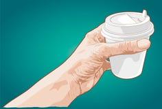 Het document van de handholding kop van koffie Royalty-vrije Stock Afbeeldingen
