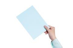 Het document van de handholding op wit wordt geïsoleerd dat Royalty-vrije Stock Fotografie