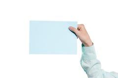 Het document van de handholding op wit wordt geïsoleerd dat Stock Foto