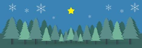 Het document van de het kampberg van de Kerstmisdag de ster van de prentbriefkaarsneeuwvlok backgr stock illustratie