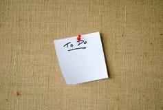 Het Document van de nota ?om? lijst op te doen niet Stock Foto's