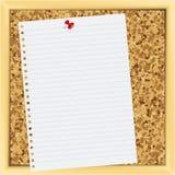 Het document van de nota op cork raad. royalty-vrije illustratie