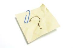 Het Document van de Nota van de post-it met Vraagteken Royalty-vrije Stock Afbeeldingen