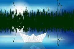 Het document van de origami boot op waterspiegel vector illustratie