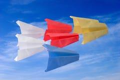 Het document van de origami vliegtuigen Stock Afbeelding