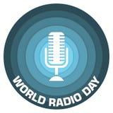 Het document van de wereld radiodag kunstconceptontwerp royalty-vrije illustratie