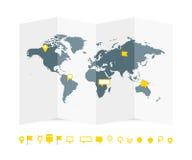 Het document van de wereldkaart gids met spelden geplaatst vectorillustratie stock illustratie