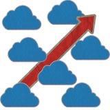 Het document van de wolk ambacht en pijl Stock Afbeeldingen
