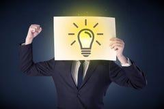 Het document van de zakenmanholding met lightbulb Royalty-vrije Stock Afbeelding