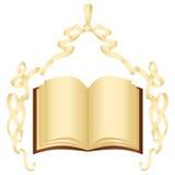 Het document van Grunge lint met boog en boek Royalty-vrije Stock Afbeelding