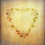 Het document van Grunge met uitstekende bloemvorm als hart Stock Foto's