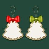 Het document van het etiket en van linten Vrolijk Kerstmis ontwerp Stock Afbeelding