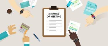 Het document van het notulen van vergadering document schrijft pen over samenvatting van mededeling in bureau Stock Afbeelding