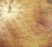 Het document van het plakboek, klok stock afbeelding