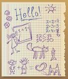 Het document van het voorbeeldenboek, schetste een jong geitje Royalty-vrije Stock Afbeeldingen