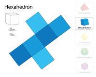Het Document van het Hexahedron Platonisch Stevig Malplaatje Model Royalty-vrije Stock Afbeelding