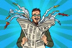 Het document van het Hipster gelukkige militaire nieuws krant royalty-vrije illustratie
