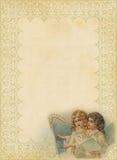 Het Document van Kerstmis met buitensporige frame en engelen Royalty-vrije Stock Afbeelding