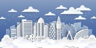Het document van Londen oriëntatiepunten Document het landschap van de besnoeiingsstad met witte vlakke gebouwen en wolken Vecto royalty-vrije illustratie