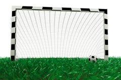 Het doel en het voetbalbal van de voetbal Stock Foto