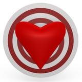 Het doel is het hart! Een 3d beeld Royalty-vrije Stock Foto's