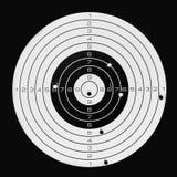 Het doel na het nauwkeurige schieten, raakte bullseye stock fotografie