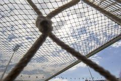 Het doel netto tegen blauwe hemel tijdens teampraktijk in Thessaloni Royalty-vrije Stock Afbeelding