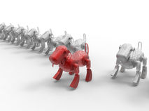 Het doel van de robothond in menigte vector illustratie