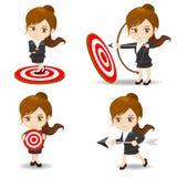 Het doel van het bedrijfsvrouwenboogschieten Stock Afbeeldingen