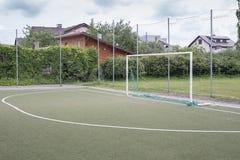 Het Doel van het stadionvoetbal of Voetbaldoel Stock Afbeeldingen