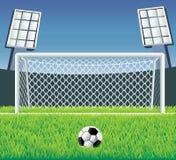 Het doel van het voetbal met realistisch gras. Stock Afbeeldingen