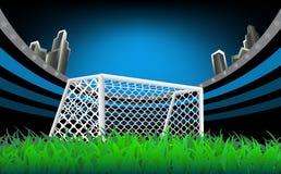 Het Doel van het voetbal met netto Stock Foto's