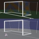 Het Doel van het voetbal met netto Stock Afbeeldingen