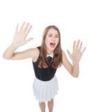 Het doen schrikken jonge mooie tiener geïsoleerd gillen Stock Foto