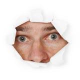 Het doen schrikken persoon verbergen in gat Stock Foto's