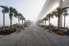 Is het Dok van de Maniergang in Charleston South Carolina in Mist benieuwd Stock Afbeelding