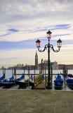 Het dok van Gondolla in Venetië, Italië Stock Afbeeldingen