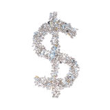 Het dollarsymbool maakte van noten - en - bouten, op witte backgr worden geïsoleerd die Royalty-vrije Stock Afbeeldingen