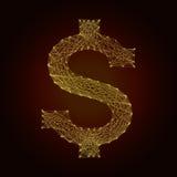 Het dollarsymbool van de lijn Stock Foto